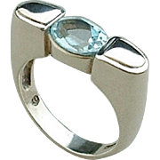 STERLING Silver MODERNIST Ring Genuine Blue TOPAZ Gemstone Minimalist Futuristic Design Size 6