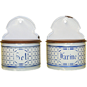 PAIR of Rare French Enamel Salt & Flour Boxes - Early 1900s