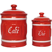 Red Ribbed Enamel Coffee and Tea Graniteware Canisters from France