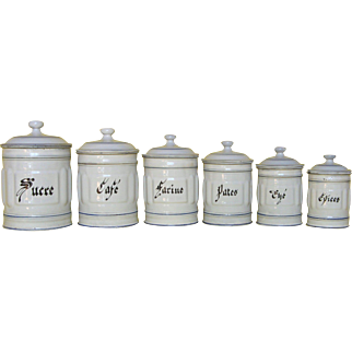 Complete Set of Six French Enamelware Kitchen Canisters - Graniteware Storage Pots