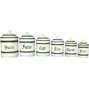 Complete Set of French Enamel Canisters - Green Band Decor