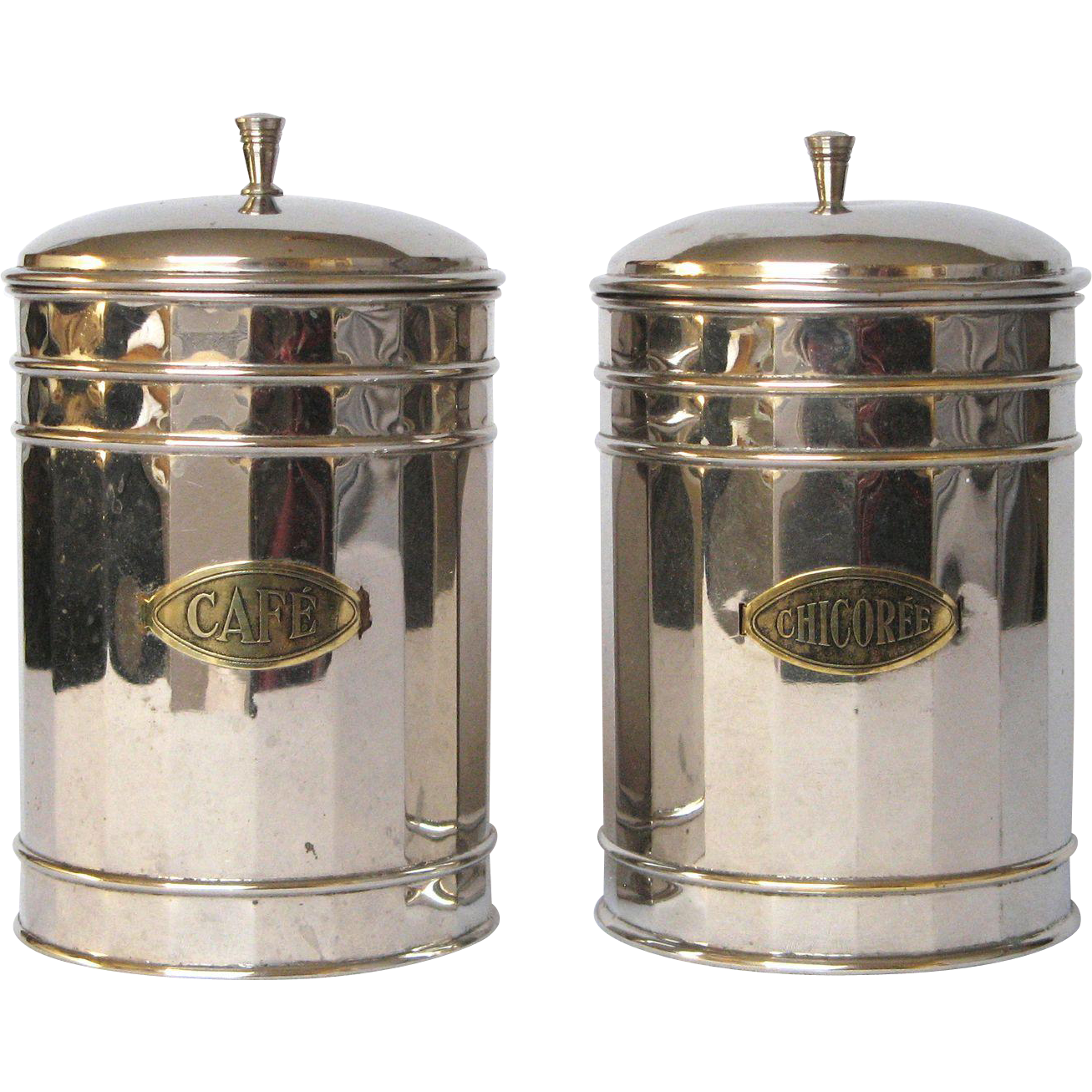 pair of vintage french chrome plated kitchen canisters