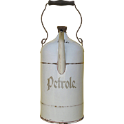 Graniteware Gasoline / Petrol Can - Enamel Jug - early 1900s