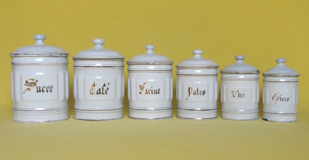 Complete set of six french enamelware kitchen canisters for Full set kitchen