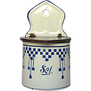 French Enamel Graniteware Salt Box - Blue Lustucru Check Design