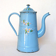 French Handpainted Floral Enamel Coffee Pot - late 1800s