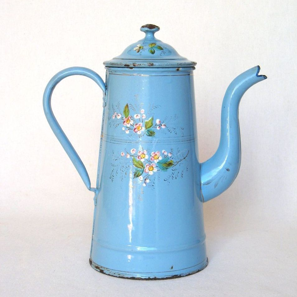 French Handpainted Floral Enamel Coffee Pot