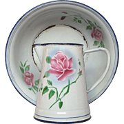 Extra-Small Japy Enamel Graniteware Floral Pitcher and Basin