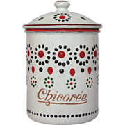 Fun French Enamel Chicory Canister - early 1900s