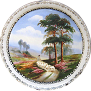 One of a Kind Enamel Hand-Painted Platter -1800s