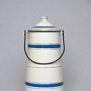 Enameled Milk Pot - circa 1920 - Turquoise Blue Bands NEAR MINT