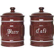 Pair of Enameled Graniteware Canisters - Coffee and Sugar