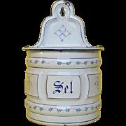 Vintage French Saxony Enamelware Graniteware Salt Box