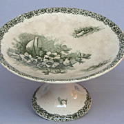 Ironstone - Green Transferware -French Compotiere - Raised Dish