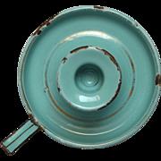 Vintage French Enamel Graniteware Candle Stick - Aqua Green / Tiffany Blue