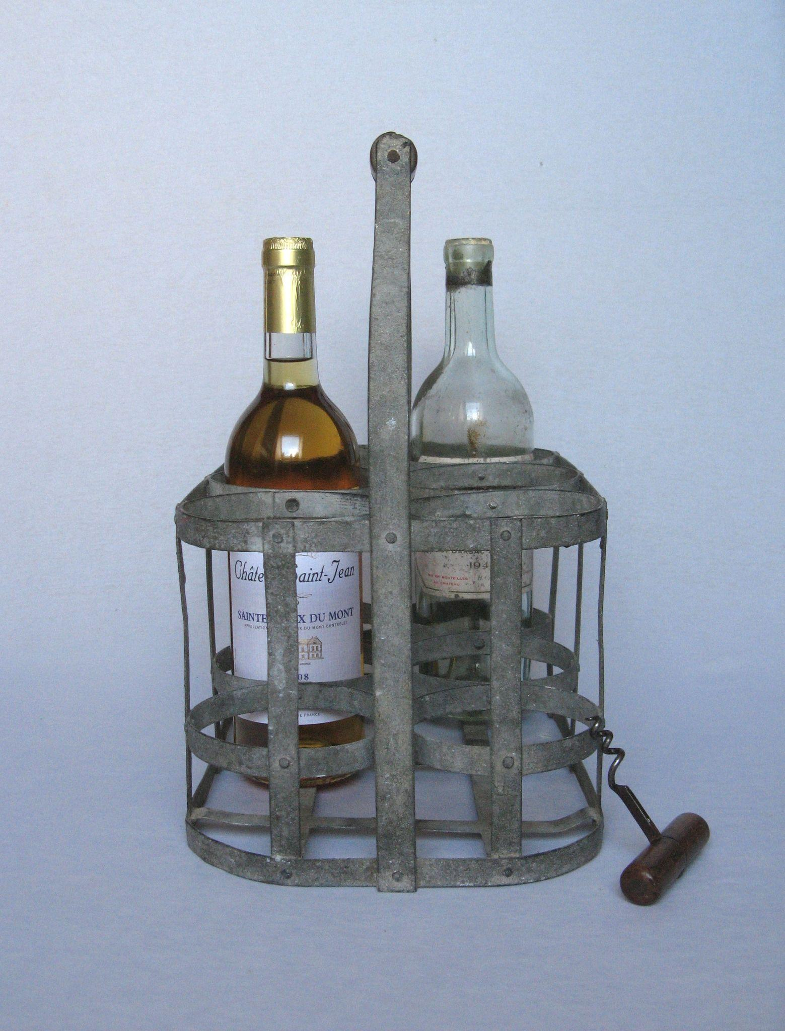 Very vintage french metal wine bottle carrier wine caddy sold on ruby lane - Wire wine bottle carrier ...