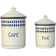 Pair of French Enamel Graniteware Coffee & Tea Canisters