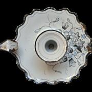 French Enamel Graniteware Candle Holder / Chamber Stick - Floral Decor