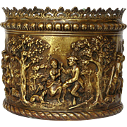 French Pressed Brass - Repousse Jardiniere - Planter - Flower Pot