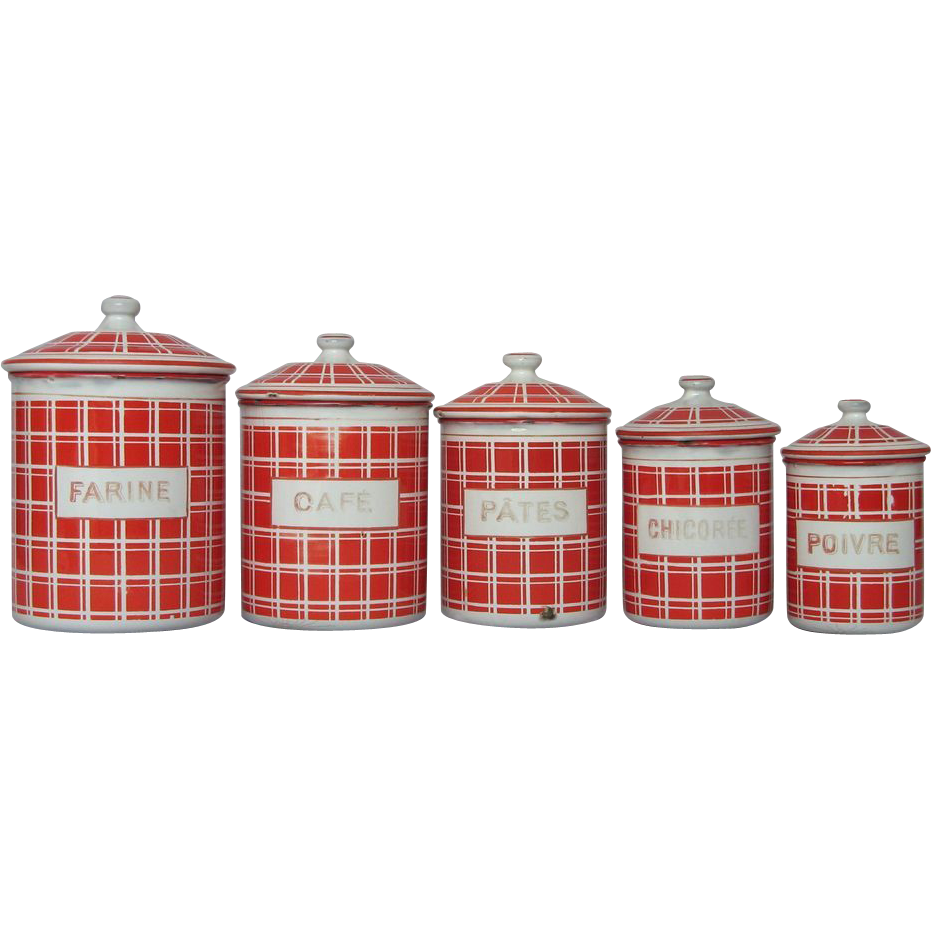 five french enamel kitchen canisters bold red check