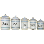 SALE - Set of Five Graniteware Kitchen Canisters - early 1900s