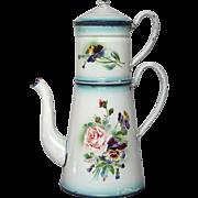 French Enamel Japy Floral Graniteware Drip Coffee Pot Biggin