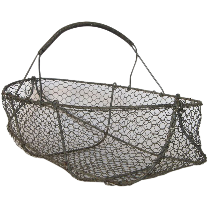 Vintage French Wire Basket Garden Harvest Gathering Basket