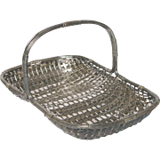 Vintage French Silver Plate Woven Basket