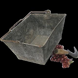 Vintage French Zinc Metal Trug / Harvest Basket / Caddy /  Gardening Tote