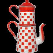 RED & WHITE Check BIG Coffee Pot Biggin