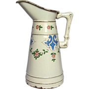 Gorgeous Hand Painted 1800s French Enamel Body Pitcher