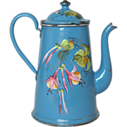 Fabulous Hand-Painted Floral French Enamel Coffee Pot