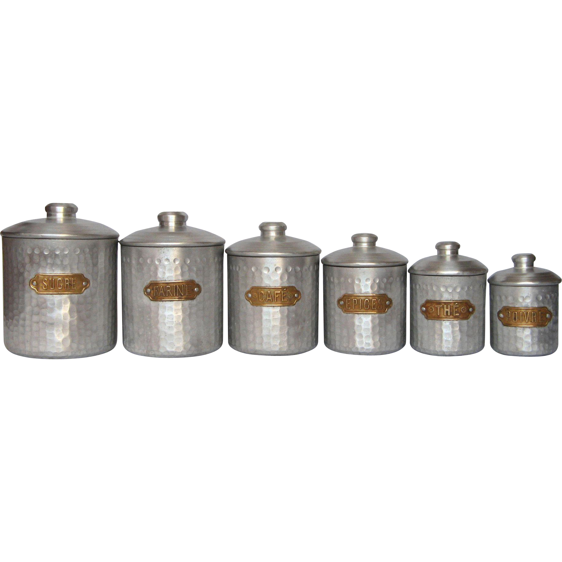 Complete set of six french vintage aluminum kitchen for Retro kitchen set of 6 spice tins