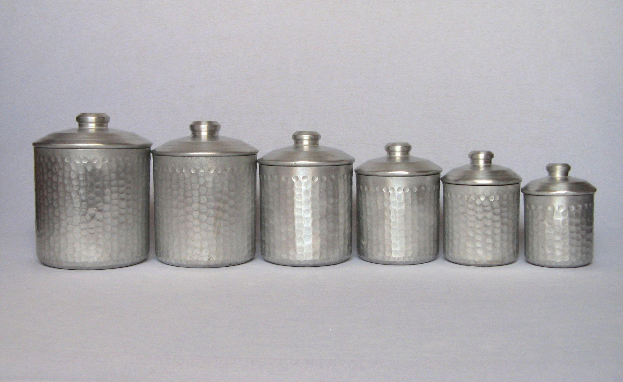 French Canisters Kitchen Complete Set Of Six French Vintage Aluminum Kitchen Canisters From