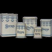 Very Vintage French Storage Tins - Art Deco Design