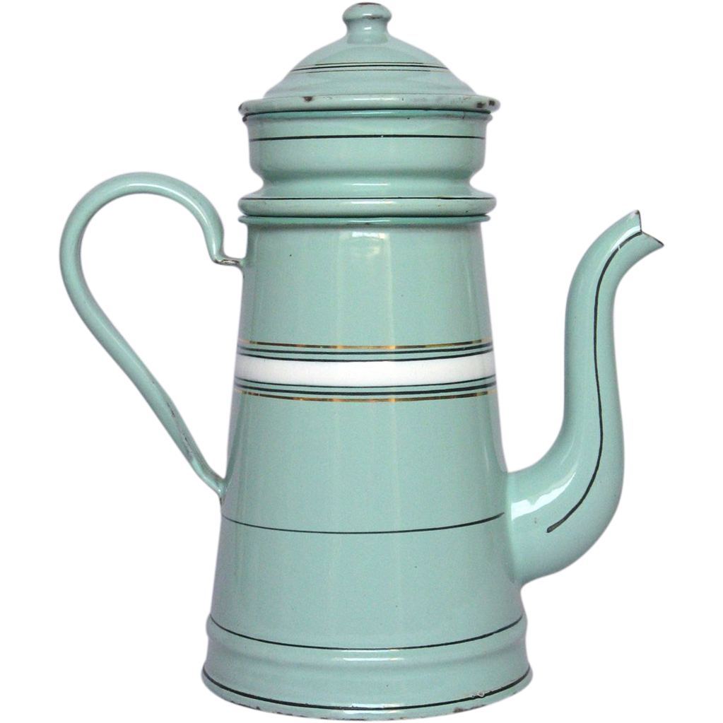 Reserved Very Pretty Aqua Green Enamel French Coffee Pot