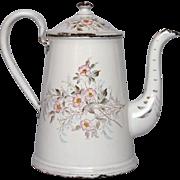 Early French Floral Enamel Graniteware Coffee Pot