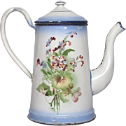 Blue Shaded Floral JAPY Freres French Enamelware Coffee Pot