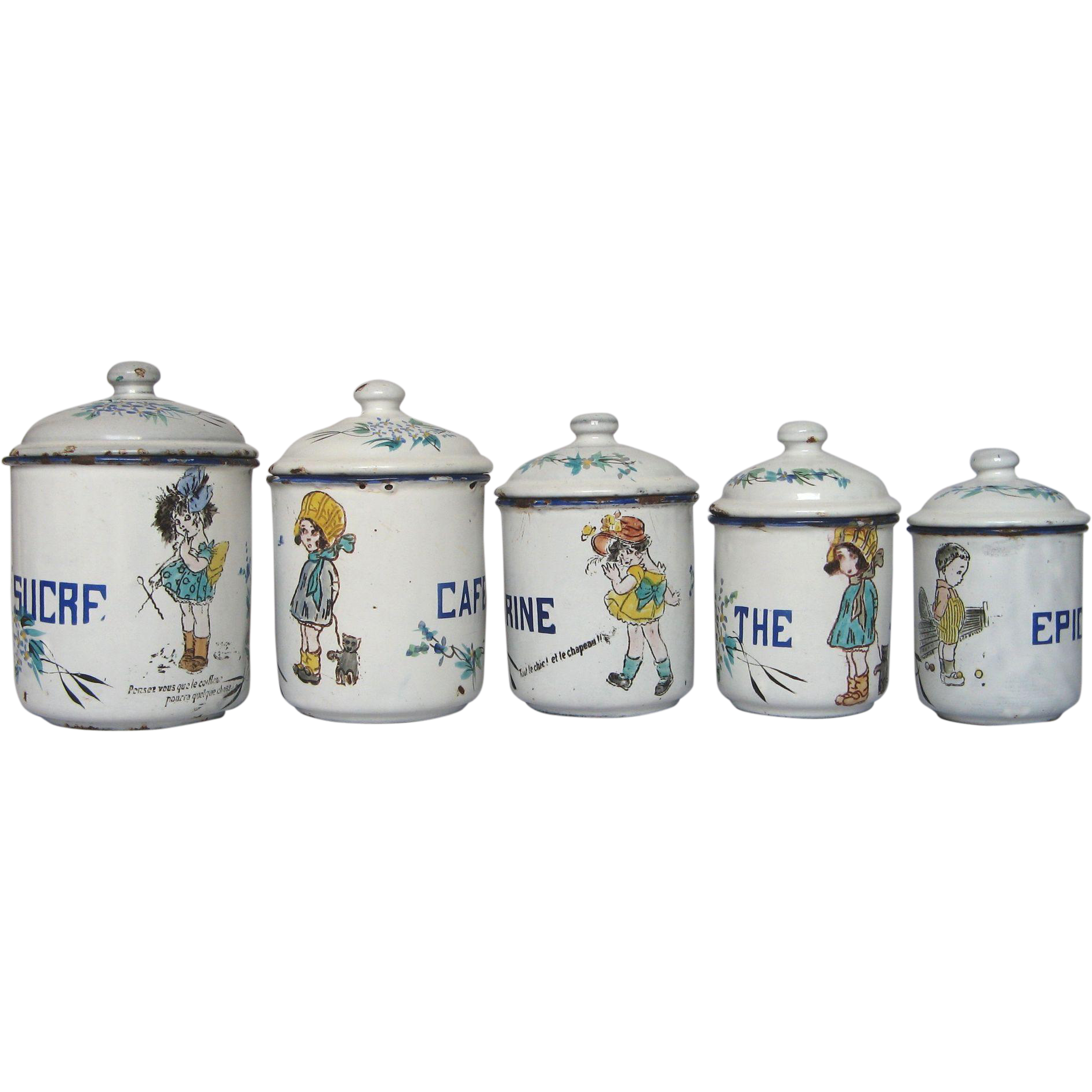 RARE Hand-Painted Design - French Enamel Graniteware