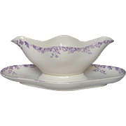 French LONGWY Ironstone Sauciere - Gravy Boat - RARE Lavender Pattern