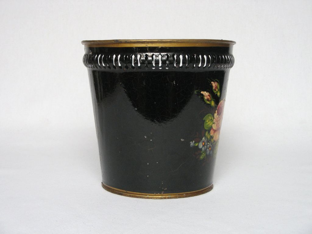 19th c french metal planter cache pot hand painted. Black Bedroom Furniture Sets. Home Design Ideas