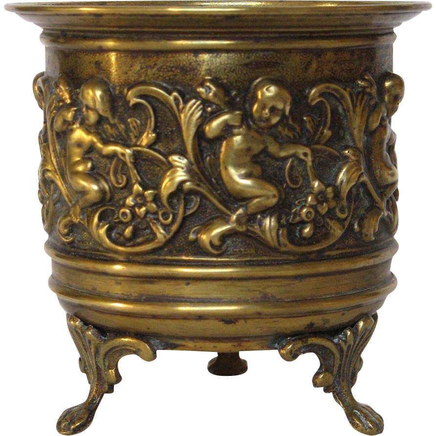 petite french brass hammered jardiniere from rubylane sold. Black Bedroom Furniture Sets. Home Design Ideas