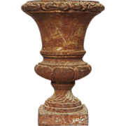 French Antique Cast Iron Medici Floral Urn