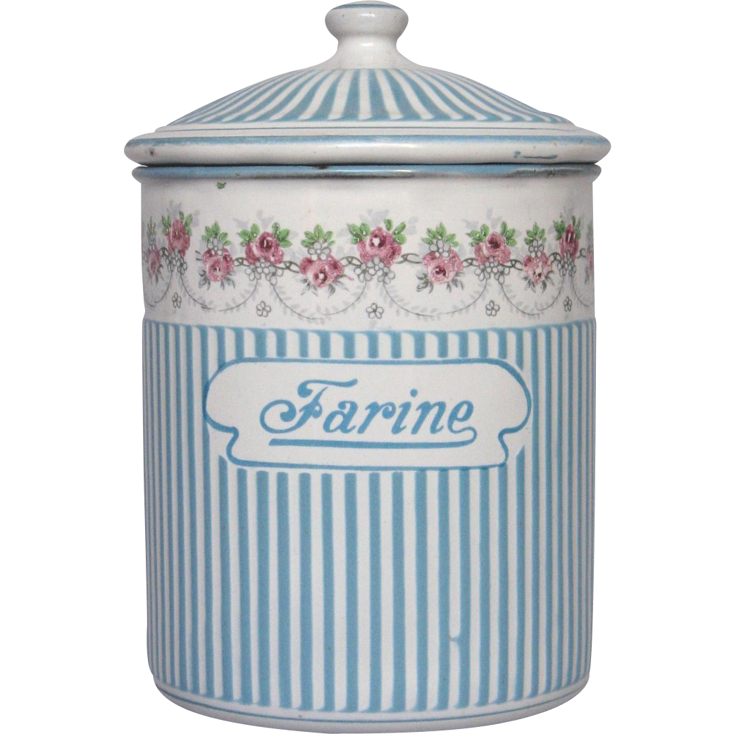 French Enamel Rose Garland Flour Canister SOLD on Ruby Lane