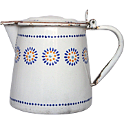 French Hand-Painted Lidded Enamel Pitcher