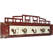 French Enamel and Metal Hook Rack- Craftsman Art Deco Design