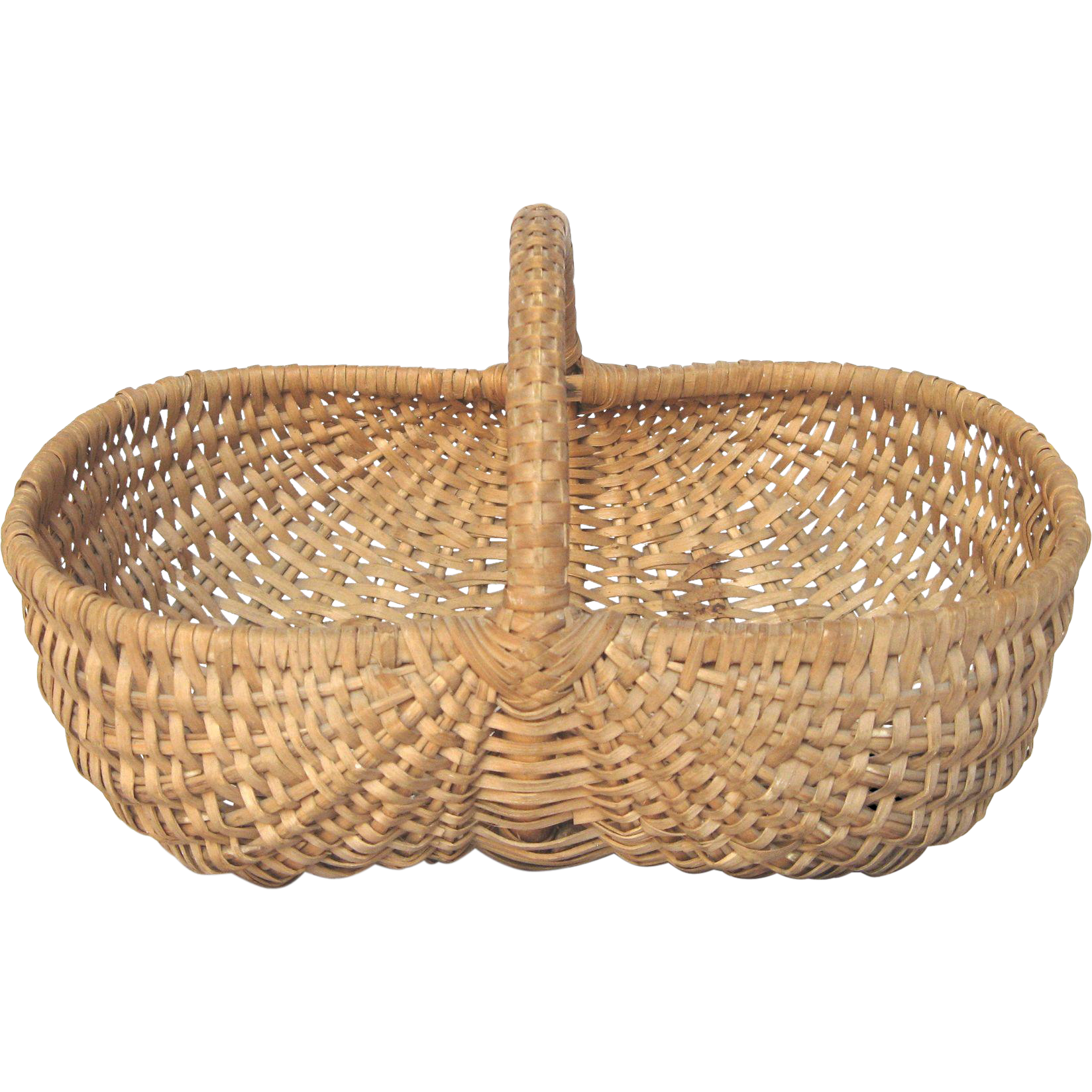Woven Gathering Basket : Small french woven gathering basket from yesterdaysfrance