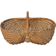 French Woven Buttocks Gathering Basket - Bent Wood Handle