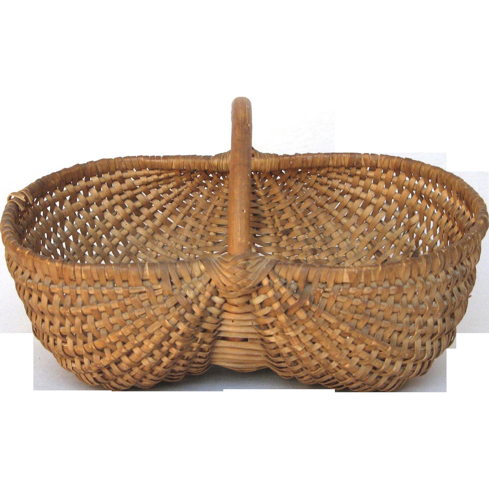 Woven Gathering Basket : French woven buttocks gathering basket bent wood handle