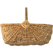 Large Capacity Vintage French Woven Wicker Gathering Basket